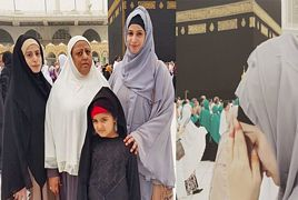 Noor Bukhari with her Family at Holy Kaaba
