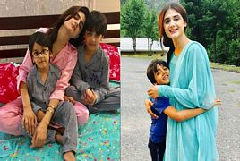 Hira Mani With Her Cute Sons Muzamil And Ibrahim