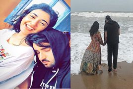 Sarah Khan With Her Fiance Agha Ali Enjoying At Beach