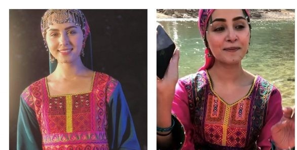 Nimra Khan from shoot location of her drama serial from Bala