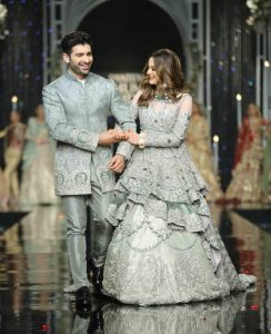 Newly wed couple Aiman and Muneeb walked the ramp